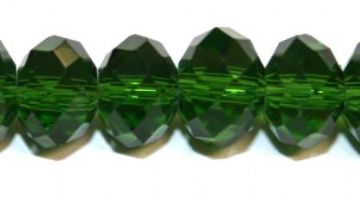 72pcs x 10mm Forest green rondelle faceted glass beads -- S.J -- 3005719